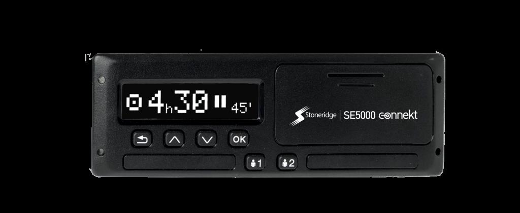 Black Stoneridge SE500 connekt smart tachograph. The time shows 04h30.
