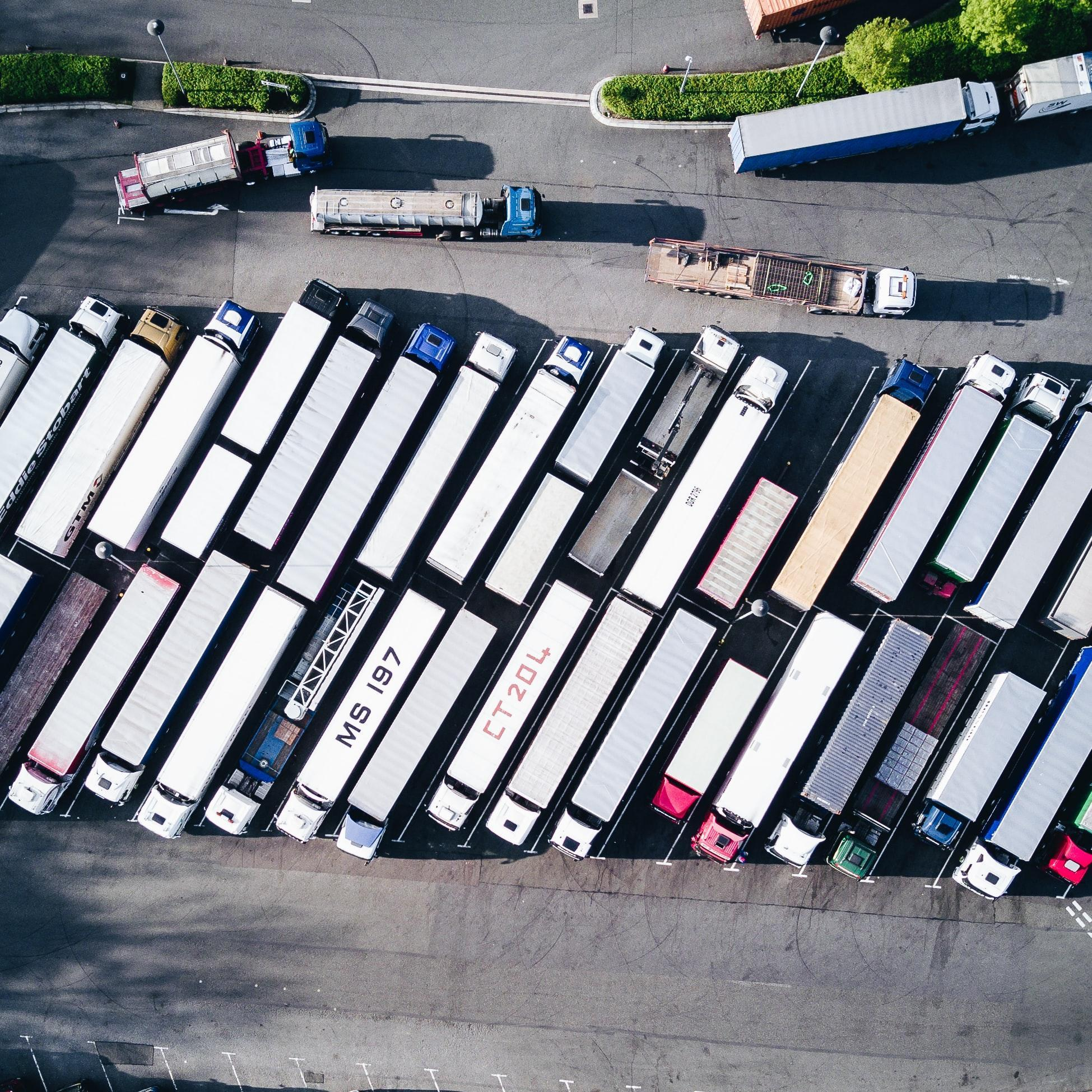 aerial shot of vehicles to show how covid-19 has increased demand – leading to more digitalisation in the logistics sector