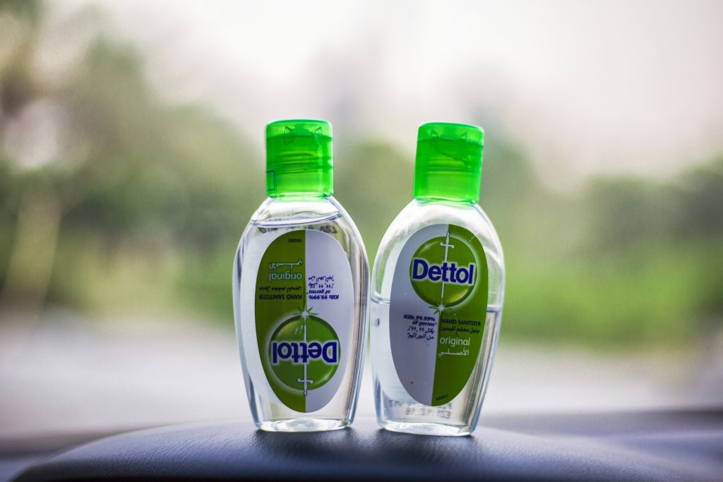 hand sanitiser sitting on a truck dashboard – a must-have for long-haul journeys during the pandemic